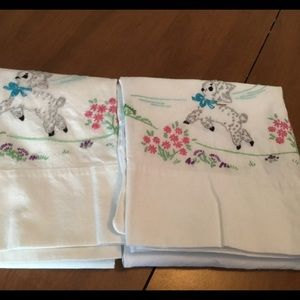 Vintage lamb flowers embroidered pillowcases